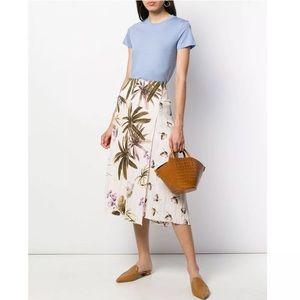 NWT Vince Tropical Garden Satin Midi Skirt